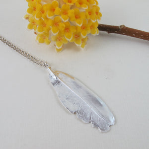 Mourning Dove feather imprinted necklace from Victoria, BC - Swallow Jewellery