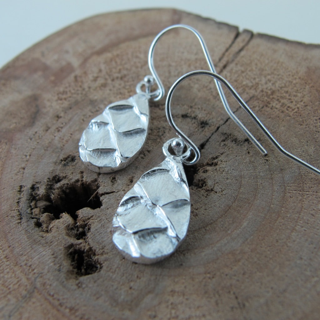 Spruce cone dangle earrings from Victoria, BC - Swallow Jewellery