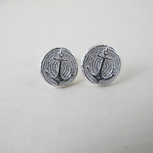Vintage anchor button earring studs - Swallow Jewellery