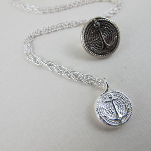 Vintage anchor button imprinted necklace - Swallow Jewellery