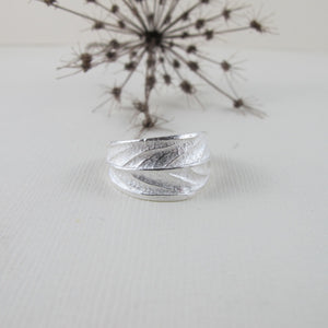 Willow leaf imprinted ring from Galiano Island, BC - Swallow Jewellery