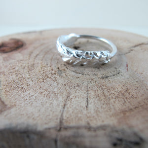 Cedar leaf imprinted ring from Victoria, BC - Swallow Jewellery