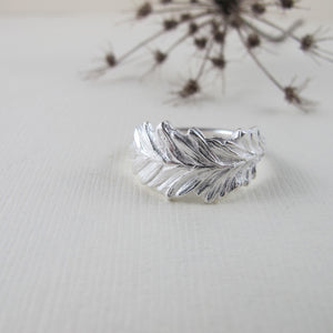 Coastal Red Cedar needle ring from Victoria, BC - Swallow Jewellery