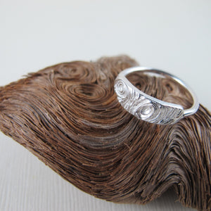 Driftwood imprinted ring from Mystic Beach, Vancouver Island - Swallow Jewellery
