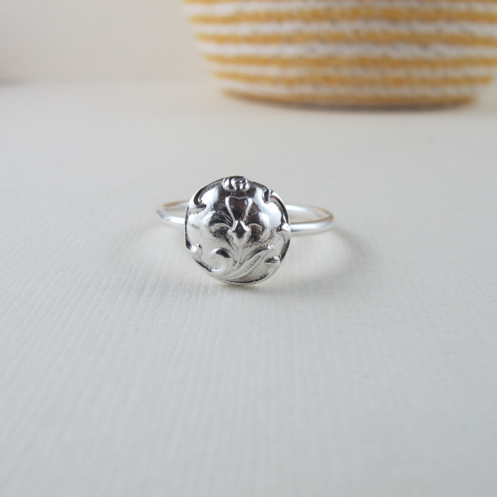 Vintage iris button imprinted ring - Swallow Jewellery
