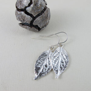 Hydrangea leaf imprinted dangle earrings from Victoria, BC - Swallow Jewellery