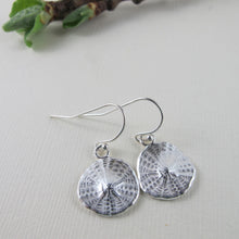 Load image into Gallery viewer, Sand dollar imprinted dangle earrings from Parksville, Vancouver Island - Swallow Jewellery