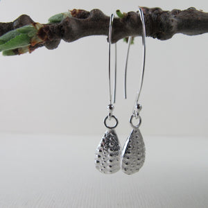 Sea urchin imprinted dangle earrings from Middle Beach, Tofino - Swallow Jewellery