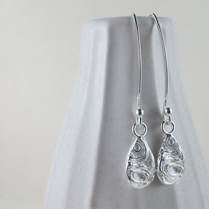 Driftwood dangle earrings from Mystic Beach, Vancouver Island - Swallow Jewellery