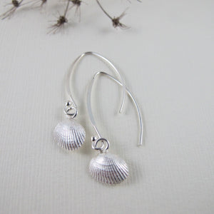 Mini seashell imprinted dangle earrings - Swallow Jewellery