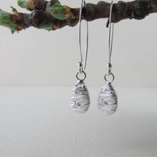 Load image into Gallery viewer, Arbutus bark imprinted dangle earrings from Galiano Island, BC - Swallow Jewellery