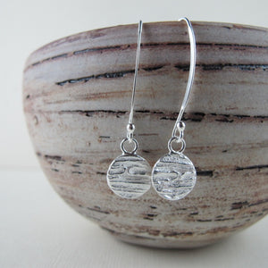 Arbutus bark imprinted dangle earrings from Galiano Island, BC - Swallow Jewellery