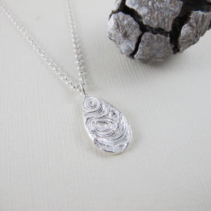 Driftwood imprinted long necklace from Mystic Beach, Vancouver Island - Swallow Jewellery
