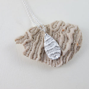 Port Renfrew coral imprinted long necklace from Vancouver Island - Swallow Jewellery