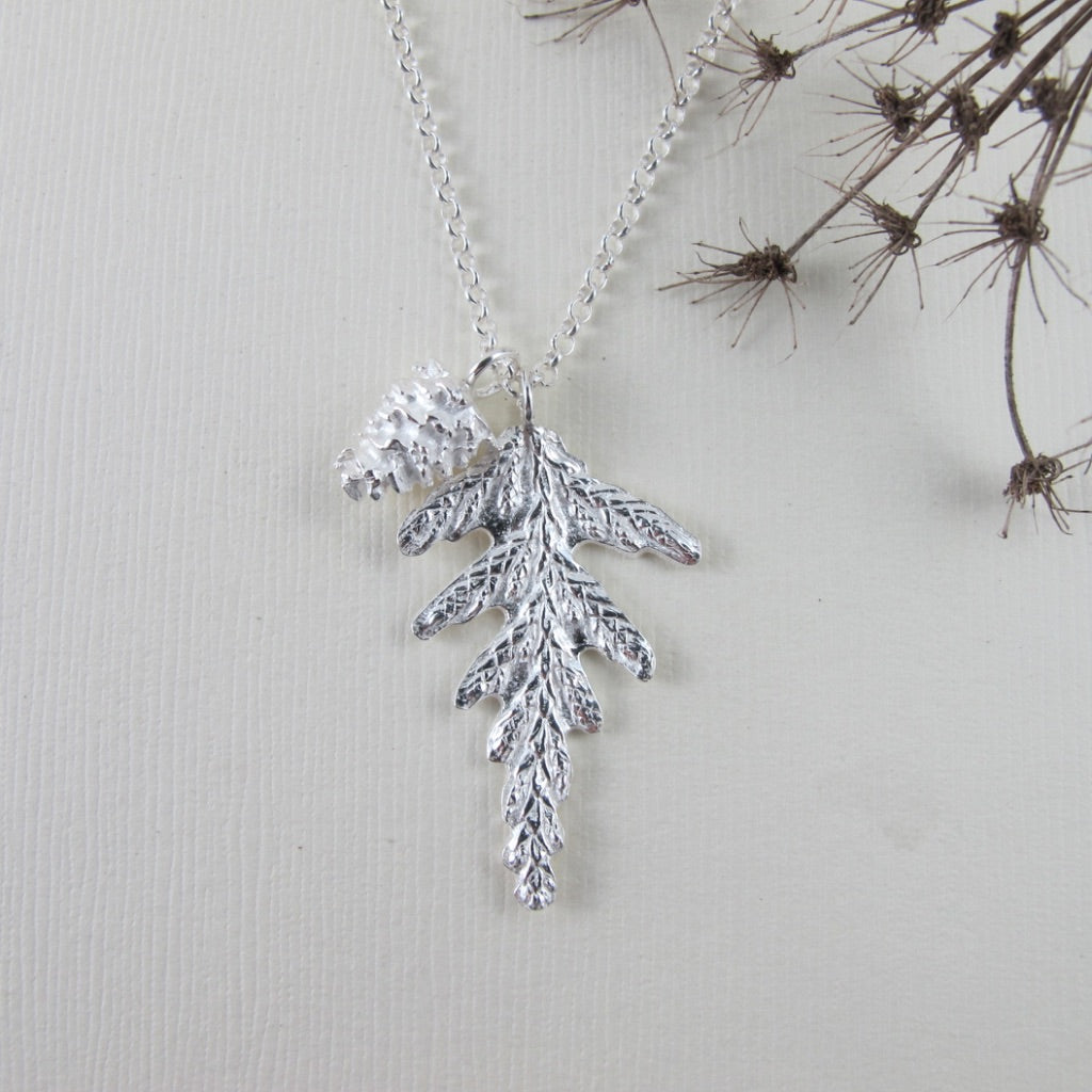 Cedar and pine cone imprinted necklace from Victoria, BC - Swallow Jewellery