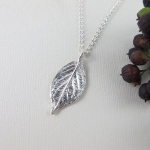Hydrangea leaf imprinted long necklace from Victoria, BC - Swallow Jewellery