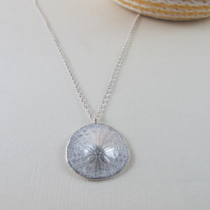 Middle beach sand dollar imprinted long necklace from Tofino, Vancouver Island - Swallow Jewellery