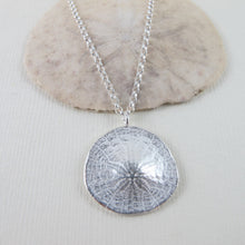 Load image into Gallery viewer, Middle beach sand dollar imprinted long necklace from Tofino, Vancouver Island - Swallow Jewellery