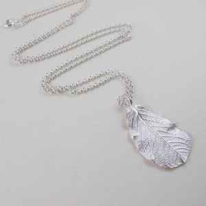Wild rose leaf imprinted long necklace from Victoria, BC - Swallow Jewellery