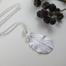 Load image into Gallery viewer, Wild rose leaf imprinted long necklace from Victoria, BC - Swallow Jewellery