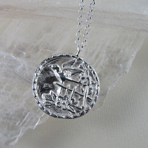 Sparrow bird vintage button imprinted long necklace - Swallow Jewellery