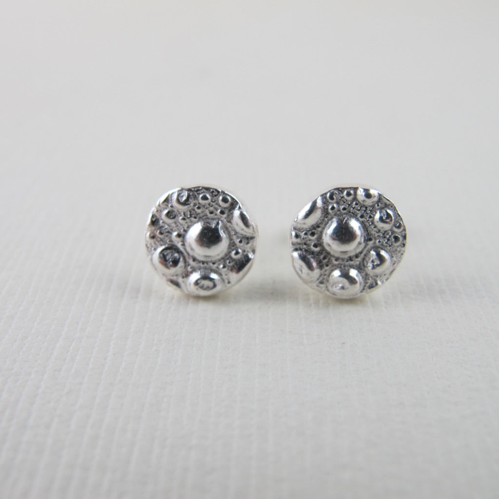 Sea urchin imprinted earring studs from McKenzie Beach, Tofino - Swallow Jewellery