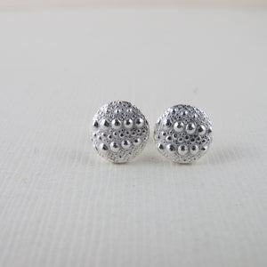 Sea urchin imprinted earring studs from Middle Beach, Tofino - Swallow Jewellery