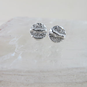 Coral imprinted earring studs from Port Renfrew, Vancouver Island - Swallow Jewellery
