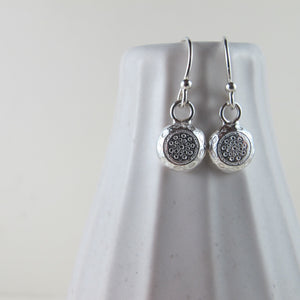 1920's vintage button imprinted dangle earrings - Swallow Jewellery