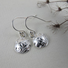 Load image into Gallery viewer, Vintage iris button imprinted dangle earrings - Swallow Jewellery