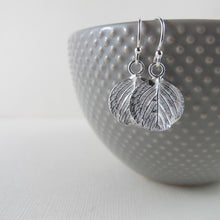 Load image into Gallery viewer, Round leaf imprinted dangle earrings from Victoria, BC - Swallow Jewellery