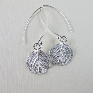 Round leaf imprinted dangle earrings from Victoria, BC - Swallow Jewellery