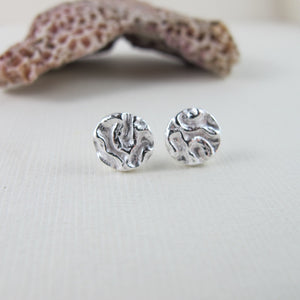 Seaweed imprinted earring studs from Dallas Road, Victoria - Swallow Jewellery