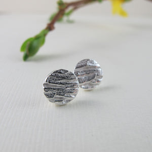 Arbutus bark imprinted earring studs from Galiano Island, BC - Swallow Jewellery
