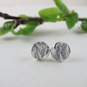 Coastal Red Cedar bark imprint earring studs from Victoria, BC - Swallow Jewellery