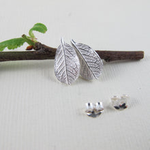Load image into Gallery viewer, Mini wild rose leaf imprinted earring studs from Victoria, BC - Swallow Jewellery
