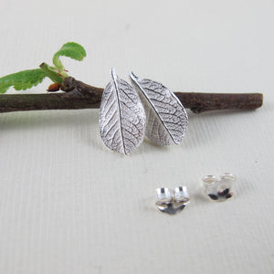 Mini wild rose leaf imprinted earring studs from Victoria, BC - Swallow Jewellery