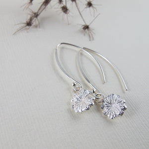 Poppy imprinted dangle earrings from Metchosin, Vancouver Island - Swallow Jewellery