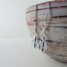Load image into Gallery viewer, Douglas Fir tree bark imprinted dangle earrings from Victoria, BC - Swallow Jewellery