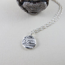 Load image into Gallery viewer, Douglas Fir tree bark imprinted short necklace from Victoria, BC - Swallow Jewellery