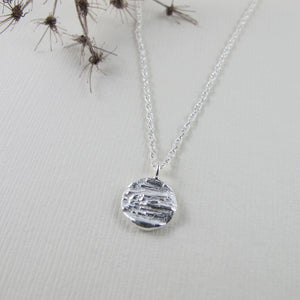 Douglas Fir tree bark imprinted short necklace from Victoria, BC - Swallow Jewellery