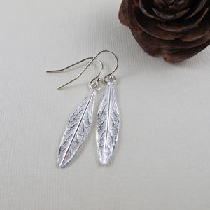 Willow leaf imprinted earrings from Galiano Island, BC - Swallow Jewellery