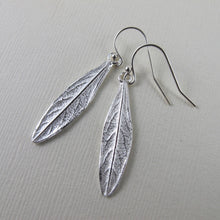 Load image into Gallery viewer, Willow leaf imprinted earrings from Galiano Island, BC - Swallow Jewellery