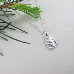 Plum leaf imprinted short necklace from Victoria, BC - Swallow Jewellery