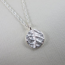 Load image into Gallery viewer, Plum leaf imprinted short necklace from Victoria, BC - Swallow Jewellery