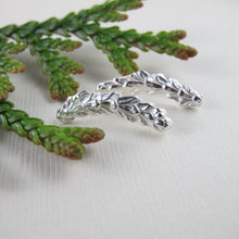 Load image into Gallery viewer, Cedar leaf imprinted ear climbers from Victoria, BC - Swallow Jewellery