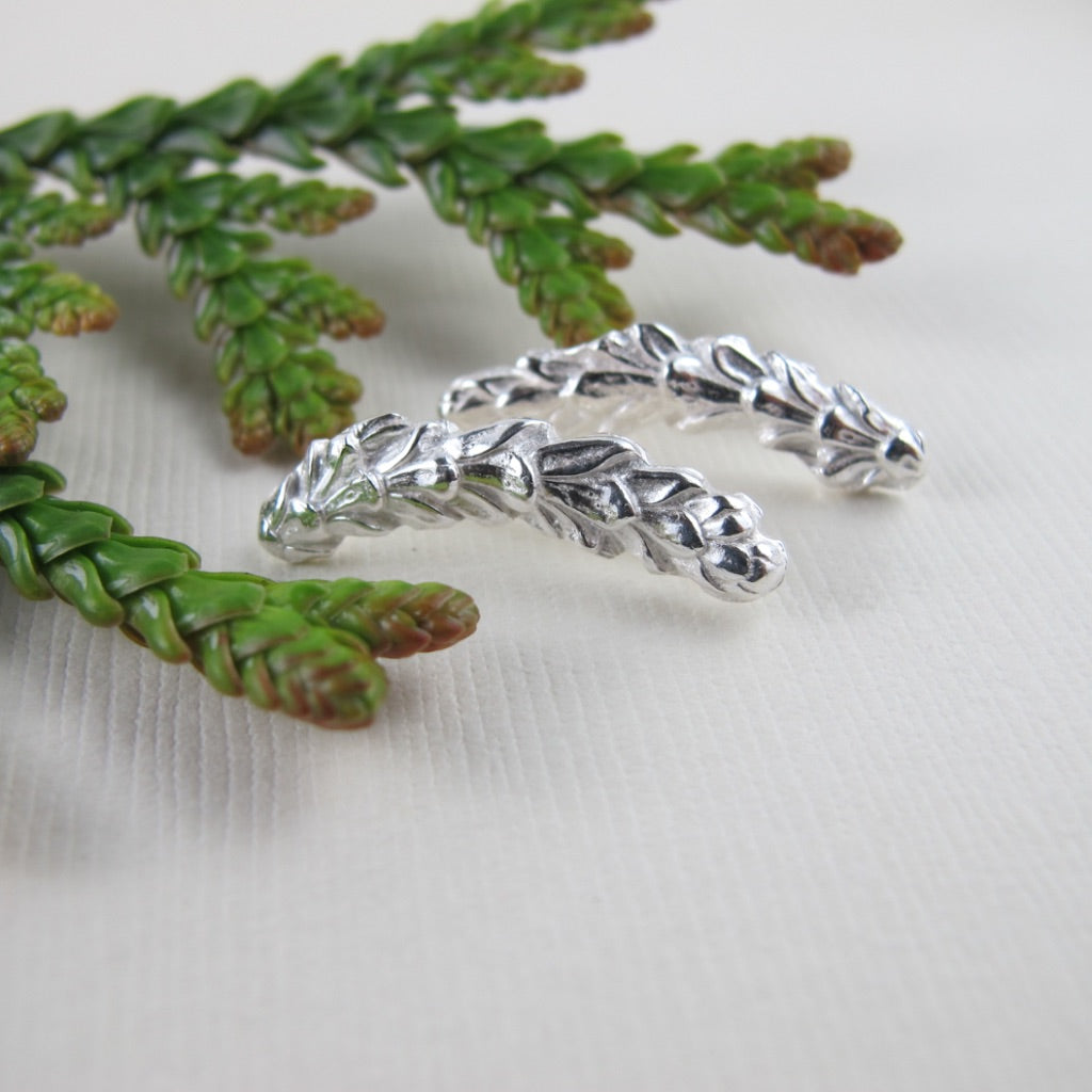 Cedar leaf imprinted ear climbers from Victoria, BC - Swallow Jewellery