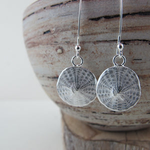 Sand dollar imprinted dangle earrings from Parksville, Vancouver Island - Swallow Jewellery
