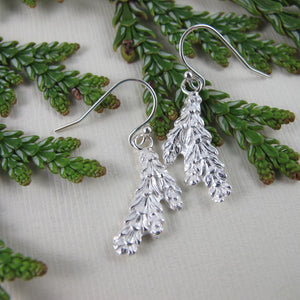 Cedar leaf imprinted earrings from Victoria, BC - Swallow Jewellery