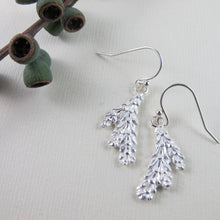 Load image into Gallery viewer, Cedar leaf imprinted earrings from Victoria, BC - Swallow Jewellery